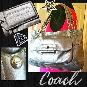 Gorgeous Metallic Silver Leather Coach Tote